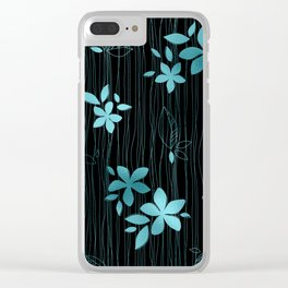 Colorful Art Deco Aqua-Blue Flower Pattern Clear iPhone Case