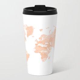 World Map Peach Metal Travel Mug