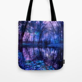Enchanted Forest Lake Purple Blue Tote Bag