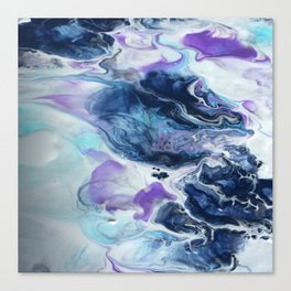 Navy Blue, Teal and Royal Purple Marble Canvas Print