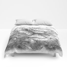 Red Rose Edges Charcoal Comforters