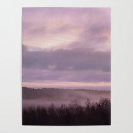 Pink Morning Mist In Sweden Poster