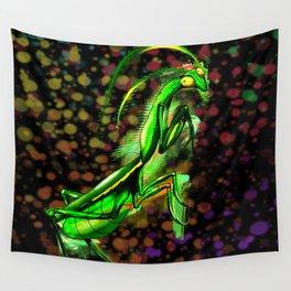 Praying Mantis Doodle Art Wall Tapestry
