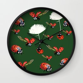 Ladybug flight Wall Clock