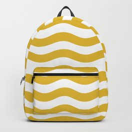 Wavy Stripes Patten Mustard Yellow Backpack