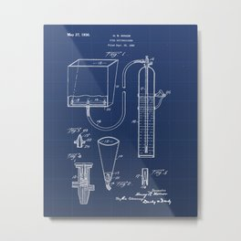 Fire Extinguisher Vintage Patent Hand Drawing Metal Print
