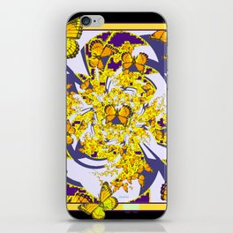 Modern Art Yellow Butterflies Purple Patterns iPhone Skin