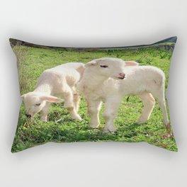 Spring Lambs Grazing On Farmland Rectangular Pillow