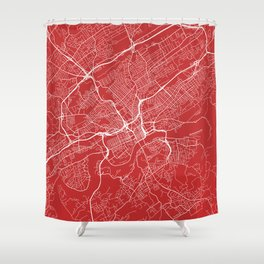 Knoxville Map, USA - Red Shower Curtain