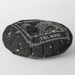 "Tarot ""The Moon"" - silver- cat version Floor Pillow"
