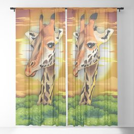 Giraffe on Wild African Savanna Sunset Sheer Curtain