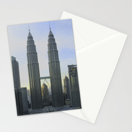 Panoramic view of the Petronas Towers in Malaysia at dusk Stationery Cards