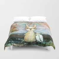 best friend Duvet Covers featuring My Best Friend, Abstract Landscape Art Painting Rabbit Owl Grunge by Itaya Art