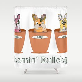 Blooming Bulldogs Shower Curtain