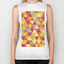 Orange yellow pink geometrical abstract triangles Biker Tank