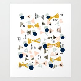 Minimal modern color palette navy gold abstract art painted dots pattern Art Print