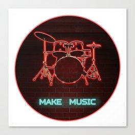 Red Neon Drum Set TEXT: Make Music in Aqua Canvas Print