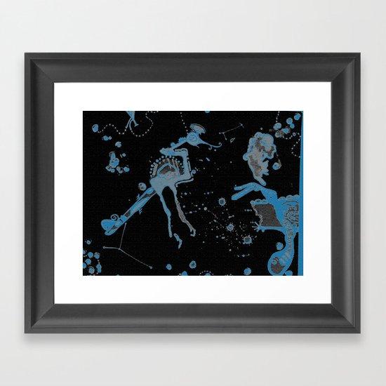 Blue Bird Lizard Framed Art Print