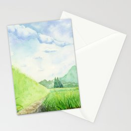 Paddy Field , Art Watercolor Painting print by Suisai Genki  Stationery Cards