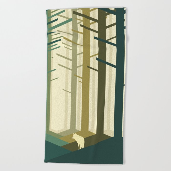 Lonely wolf Beach Towel