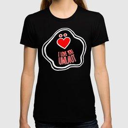 'I Love You Umlaut' Valentine's Pattern - Red, White and Black Block Print T-shirt