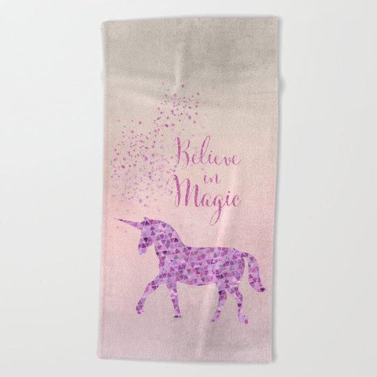 Glamorous Unicorn Faux Glitter Believe in Magic pink purple Beach Towel