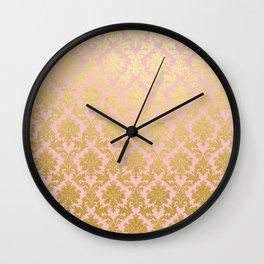 Princess like - Luxury pink gold ornamental damask pattern Wall Clock
