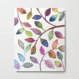 Colorful Leaves Watercolor Metal Print