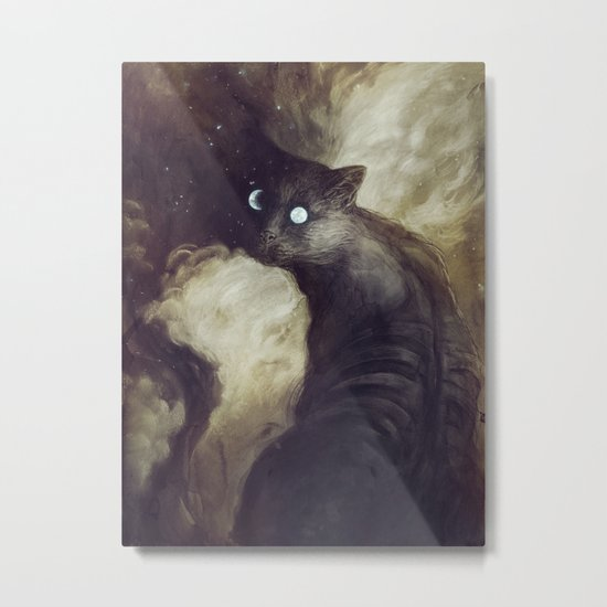 The Cat and the moon Metal Print