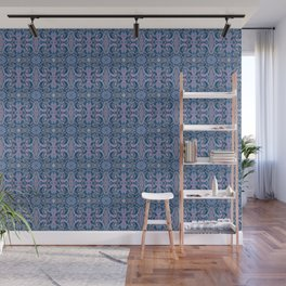 Summer Twilight, abstract arabesque in blue and violet Wall Mural