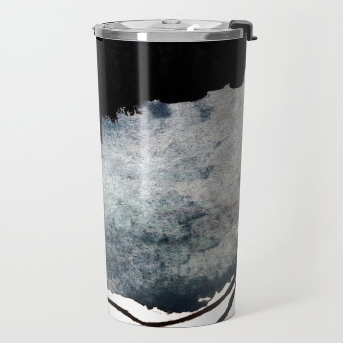 Closer - a black, blue, and white abstract piece Travel Mug