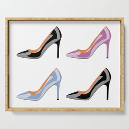 High heel shoes in black, serenity blue and bodacious pink Serving Tray