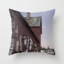 Motif #1 buoys and the full moon Throw Pillow