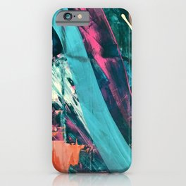 Wild [7]: a bold, colorful abstract mixed-media piece in teal, orange, neon blue, pink and white iPhone Case