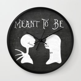 Chalkboard Meant To Be, Jack & Sally Wall Clock