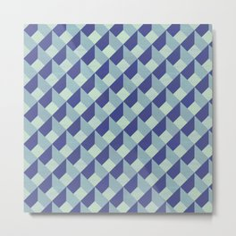 Blue Geometric Pattern Metal Print