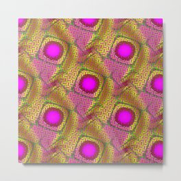Pink & Gold Dichroic Psychedelic Metal Print