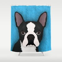 boston terrier Shower Curtains featuring Boston terrier by Nir P