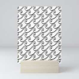 Rough Sea Pattern - black on white Mini Art Print