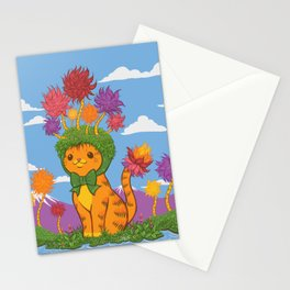 Orange Cat Wears Fluffy Tree Hat Stationery Cards