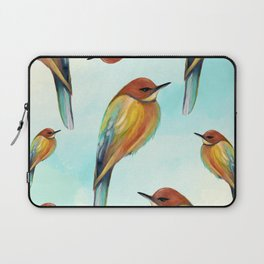 Watercolor Bird Pattern - Multicolor Feathers - Abstract Blue Sky Laptop Sleeve