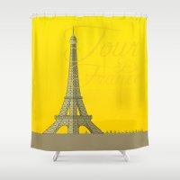 tour de france Shower Curtains featuring Tour De France Eiffel Tower by Wyatt Design