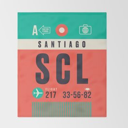 Baggage Tag A - SCL Santiago Chile Throw Blanket