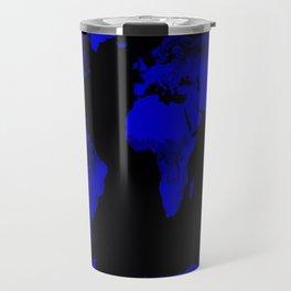 worlD Map Blue & Black Travel Mug