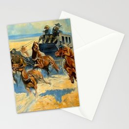 """Frederic Remington Western Art """"Downing the Nigh Leader"""" Stationery Cards"""