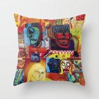 cartoon Throw Pillows featuring Cartoon by Mira C