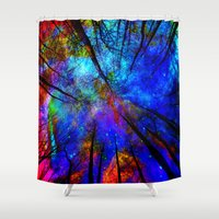 decal Shower Curtains featuring Colorful forest by haroulita