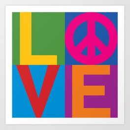 Love Peace Color Blocked Art Print