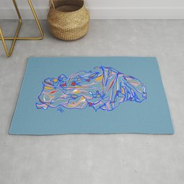 Composition of Blue, Red, Yellow - Colorful Contour Line Drawing Rug