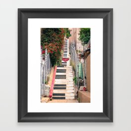 Piano <3 Staircase Framed Art Print